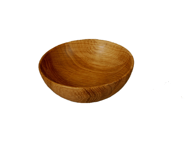 Oak wooden bowl.