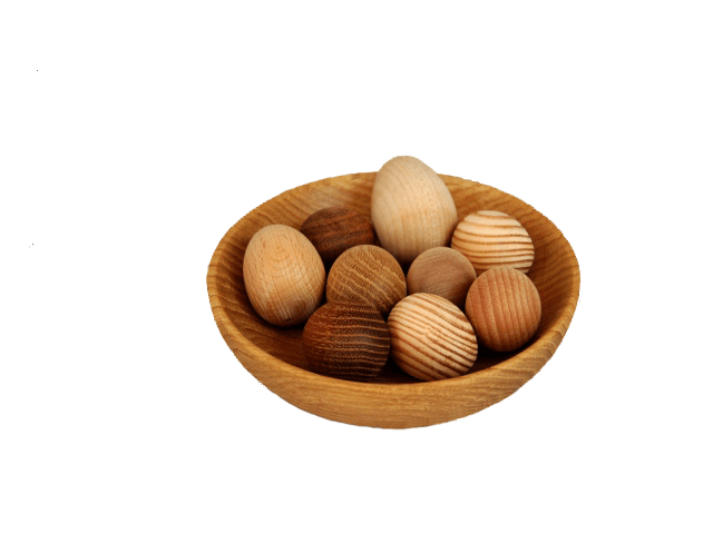 Wooden decorative eggs.