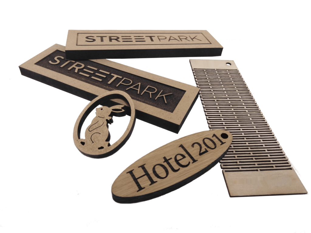 Engraved logos and wood cut