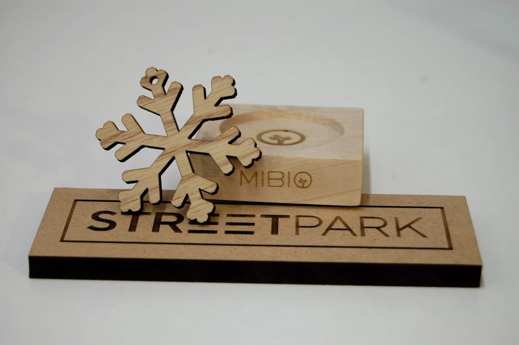 engraved logos and cut MDF