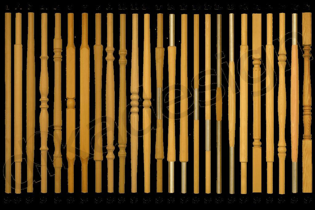 Dřevěné šprušle a šprušle s nerezem pro výplň schodišť